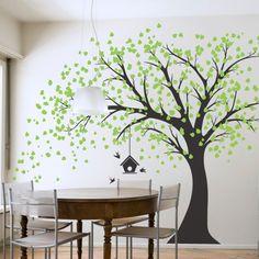 Decalcomania gigante da parete con albero nero, foglie verdi, uccelli e gabbietta, decorazione decalcomania adesiva in vinile, fai da te, per camera da letto bambini: Amazon.it: Fai da te
