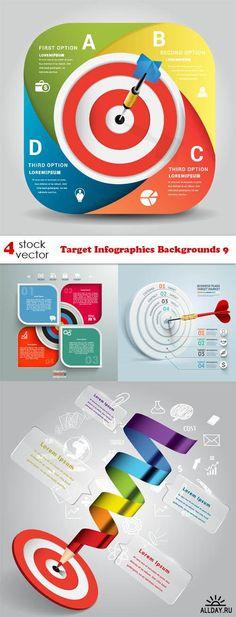 Vectors - Target Infographics Backgrounds 9