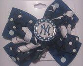 NY Yankees Boutique Bottle Cap Hair Bow