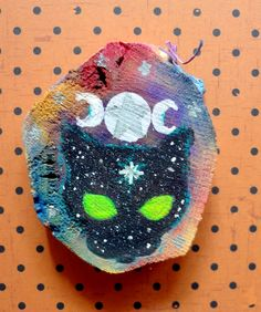 """""""Witch Moon Magick""""; 2015; Watercolors, markers, acrylic on approx 2.25"""" x 2"""" x 1.5"""" cross-cut wood. Annie Hagopian Art"""