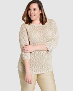 Jersey de mujer talla grande Couchel con manga francesa y escote redondo