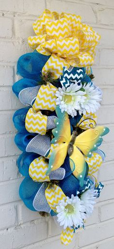Spring/ Summer Turquoise Butterfly Chevron Daisy by dottiedot05