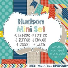 Digital Paper and Frame Hudson Mini Set. Turquoise, blue, beige, yellow, and red.