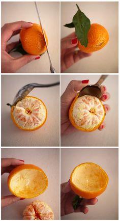 Manualidad: vela de té en una naranja