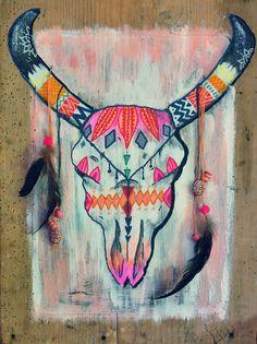 "Eva Lub'Art cow skull ""ARIZONA"" painting on old wood https://www.alittlemarket.com/decorations-murales/eva_lubart_tableau_vieux_bois_arizona_-18905324.html"
