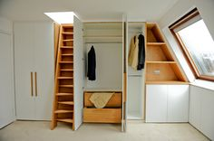 Baroque Attic Storage trend London Contemporary Closet Inspiration with bespoke stairs built in wardrobe Cabinetry ladder loft storage solutions window
