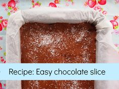 Recipe: Easy chocolate slice recipe that you can mix with a spoon - no beaters required! A family favourite in our house.