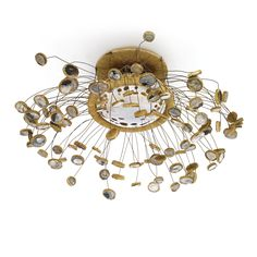Line Vautrin; Glass, Talosel and Metal Wire Ceiling Light, c1960.