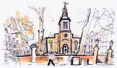 lucinda rogers black and white ink illustration guardian watercolour london church st anne's soho hazlitt street scene