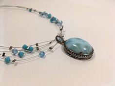 Sterling Silver Larimar Pendant Necklace Set  Larimar and