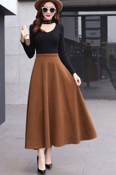 Brown winter full skirt, long winter flare skirt skirt Classical flared skirt for women Flare Skirt Outfit, Full Skirt Outfit, Maxi Skirt Outfits, Dress Skirt, Modest Outfits, Dress Shoes, Shoes Heels, Long Skirt Fashion, Fashion Dresses
