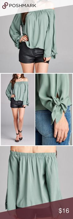Off the shoulder sleeve tie top Off the shoulder sleeve tie top in sage. . Fits true to size small 4/6, medium 8/10 and large 12. 100% Rayon. PRICE FIRM UNLESS BUNDLED. Bundle 3+ and save 15%! Tops