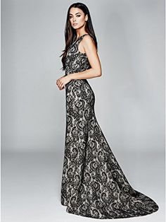 Steel the spotlight at the prom with this lace gown with a slight high-low hem.