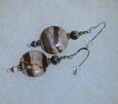 925 Sterling Silver  #Brown and #Tan Zebra Jasper #Beaded #Dangle Earrings   These are gorgeous beads - The coloring on these beads is very striking - Made with 20mm Brown a... #bling #dsmenagerie #earrings #jewelry #beaded #dangle #unique #quality #gift #bold #brown #tan #striped