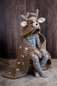 Woodland Deer Blanket Crochet Pattern - Hooded Woodland Deer Blanket Crochet PATTERN MJ's Off The Hook Design - Knitting patterns, knitting designs, knitting for beginners. Crochet For Kids, Easy Crochet, Crochet Hooks, Crochet Baby, Knit Crochet, Crochet For Beginners Blanket, Crochet Blanket Patterns, Crochet Afghans, Crochet Stitches