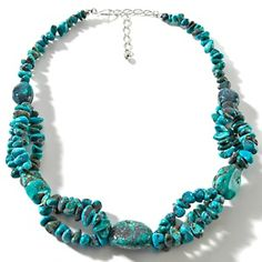"""Jay King Hubei Turquoise Sterling Silver Beaded 19-1/4"""" Station Necklace at HSN.com."""