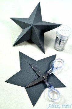 DIY: Tischdeko für Silvester - allez-vite.com 3D Sterne basteln plastische Sterne