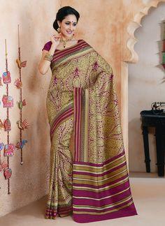 Voguish Printed Art Silk Saree