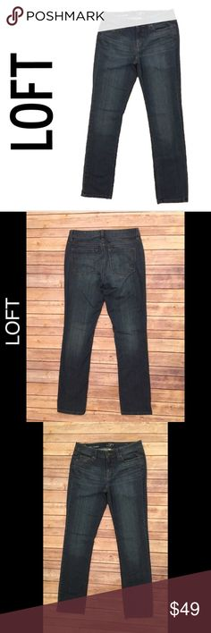 """Ann Taylor LOFT 6 Modern Straight Dark Jeans Ann Taylor LOFT 6 Modern Straight Dark Wash Denim Blue Jeans  ▫️Waist flat 15.5"""" ▫️Rise 8.5"""" ▫️Inseam 31""""  ▫️No stains  ▫️No holes   ▫️Two areas of wear on the front- both with finger pointing at them in photos  🛍For the best deal, I offer a bundle discount! Please check out my closet for other fabulous items!🛍 LOFT Jeans Straight Leg"""