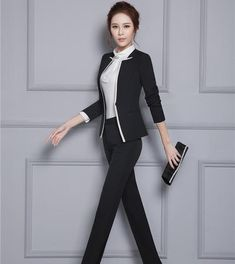 28d8ea7ba80e Women's Jacket and Pant Set Professional for Autumn Winter Office Business