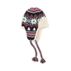 Women's Snowflake Nordic Trapper Hat ($20) ❤ liked on Polyvore featuring accessories, hats, black, nordic hat, muk luks hats and trapper hats