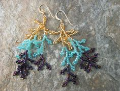 MadetoOrder Earrings in Purple Aqua and Gold Seed by SierraBeader