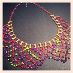 Neon bib necklace $75