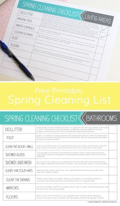 Free Printable Spring Cleaning List. No Dust Bunnies left behind this year!! Get that home sparkling clean.
