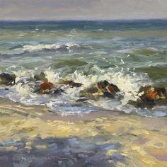 """Daily Paintworks - """"Venice Rocks"""" - Original Fine Art for Sale - © Diane Mannion"""