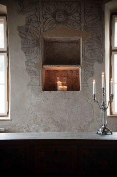 Restored frescoes in the former Parish House Fresco, Candle Sconces, Bathroom Lighting, Restoration, Wall Lights, Candles, Mirror, Decorating Ideas, Interiors