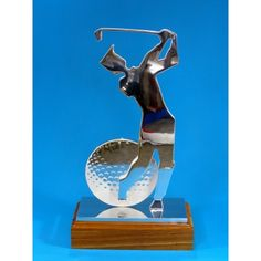 Laser cut aluminium golfer trophy on wood base. Very popular award. Laser Cut Aluminum, Trophies And Medals, Some Ideas, Bookends, Base, Popular, Wood, Inspiration, Madeira