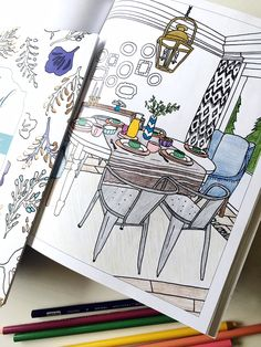 Home Decorating Adult Coloring Book - The Inspired Room blog