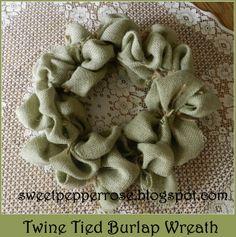 burlap wreath | SweetPepperRose: Twine Tied Burlap Wreath