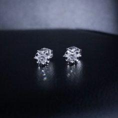 14k white gold diamond stud earrings .33 ct round cut snap closure #GDD #Stud