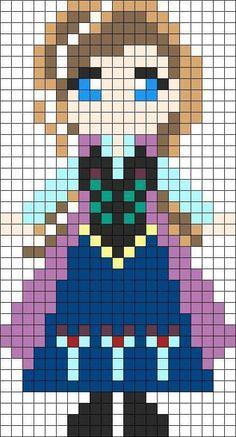 Perler Beads Frozen Pattern, Perler Beads Anna, Perler Bead Patterns Princess, Frozen Perler Bead, Perler Beads Disney Patterns, Disney Princess Perler ...