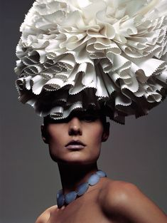 Sculptural Headpiece made from paper - fashion as art; wearable sculpture; paper couture // Zoe Bradley