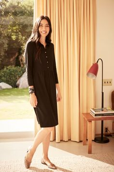 Sunshine and your LBD (featuring J.Jill's Knit Shirtdress).