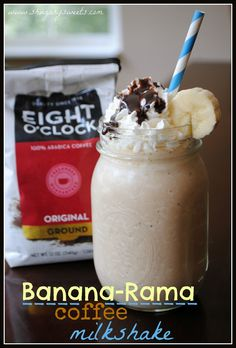 1 1/2 cup cold, brewed coffee (I used Eight O'Clock original blend)  2 cups vanilla ice cream  1 large banana  1/4 cup chocolate syrup, divided  whipped cream  5 ice cubes In blender, combine cold coffee with ice, ice cream, banana and 3 Tbsp chocolate syrup. Pour into 2 large glasses and top with whipped cream and remaining chocolate syrup. Garnish with a slice of banana, if desired.