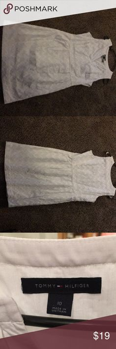 Size 10 Tommy Hilfiger dress White with embroidery. Only worn 2 times, very comfortable Tommy Hilfiger Dresses Maxi