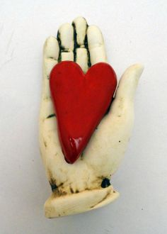 Ceramic Wall Sculpture My Heart in you Hand by Mudgoddess on Etsy, $28.00