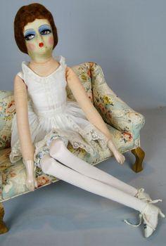 91251f8345d Blossom 1920s 30s Boudoir Flapper Cloth Doll ~ Superb Eyes!