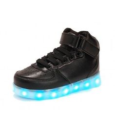 Kids Juniors Hi Top Black Leather Ultra LED Light Up Hoverboard Shoes. Free & Fast Shipping Price - $ 49.00
