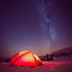 Tent under the stars... Cold outside, warm inside...