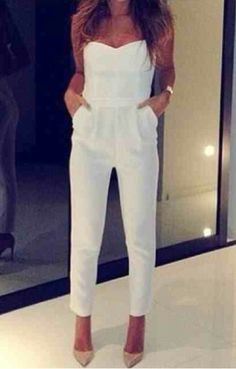 Pants: top, jumpsuit, white, strapless, shoes - Wheretoget