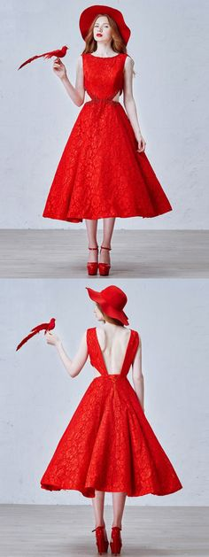 Red Stone Emebllished Cut Out Side Backless Lace Homecoming Dress-CHOIES