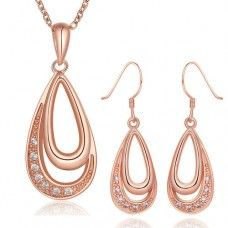 Rose Gold Plated Water Drop Earring and Necklace Jewelry Set PS398-A