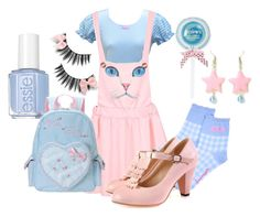 """Photoshoot with Melanie"" by adventuretimekitty ❤ liked on Polyvore featuring Chicnova Fashion, Essie, Pink, Blue and melaniemartinez"