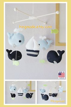 Baby Mobile Whales Mobile Sailboat Mobile Nautical von hingmade