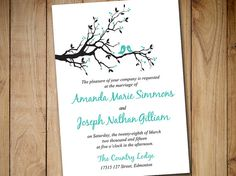 "Printable Wedding Invitation Template - Instant Download DIY Wedding Template ""Love Bird Branch"" Tiffany Printable Wedding Invitation Card by PaintTheDayDesigns"