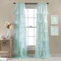 Lark Manor Aubin Light-Filtering Single Curtain Panel Color: Light Aqua